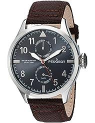 Para hombre Peugeot plateado de la Alianza de brillantes tela diseño de hada con alas reloj y fecha