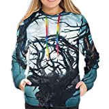 Women's Hoodies Tops,Big Mystic Tree with Big Thorns Branch in Light Spooky Night Fantasy Illustration,Hoodie Sweatshirt Apparel for Women,Lady, Teens And Girls,Size:XL