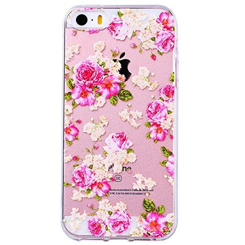 """WE LOVE CASE iPhone 7 Plus Hülle Blumen Schmetterling Löwenzahn Trasparent Schön Kristall Klar Erleichterung iPhone 7 Plus 5,5"""" Hülle Rosa Schutzhülle Handyhülle Weich Silikon Handytasche Ultra Dünn F Peony"""