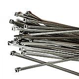 Ataduras de cable de Gocableties, ataduras de color gris o plateado, de 300 mm x 4,8 mm, de alta calidad, con cremalleras de nailon, paquete de 100 un