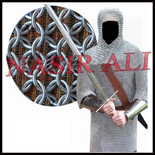 NASIR ALI Aluminium Round Riveted Chainmail Shirt 9MM 16G Reenactment Medieval Clothings
