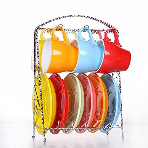 Ensemble de café en céramique de couleur créative Coupe de café de grande capacité/6 Coupe 6 disque Set (7 couleurs en option) (couleur : G)