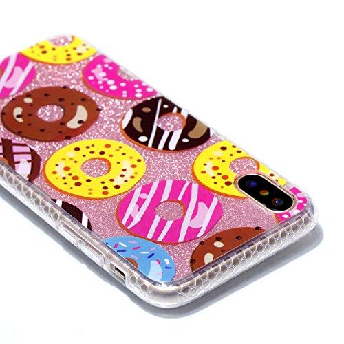 Cover Apple iPhone X, Voguecase Custodia Silicone Morbido Flessibile TPU Custodia Case Cover Protettivo Skin Caso in IMD design (fiore Skull 06) Con Stilo Penna Donuts 06