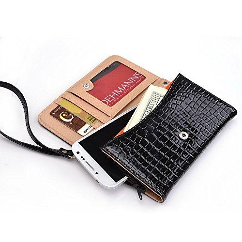 Kroo Étui portefeuille universel pour smartphone avec bracelet croco pour Samsung Galaxy Alpha/S III Mobile orange noir