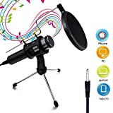 #7: Buluri Broadcasting Recording Condenser Microphone Professional Home Studio Microphone 3.5mm Plug &Play for Cellphones, Laptop, Computer, PC, Youtube, Facebook Live Stream