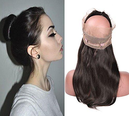 Moresoo Vierge Cheveux Humain Closure Frontale Lace Cheveux Bresiliens 360 Lisse Straight 100% Vierge Closure Naturel Noir 1B# Free Part 16 Pouces/40cm Size 22.5x4x2 Pouces