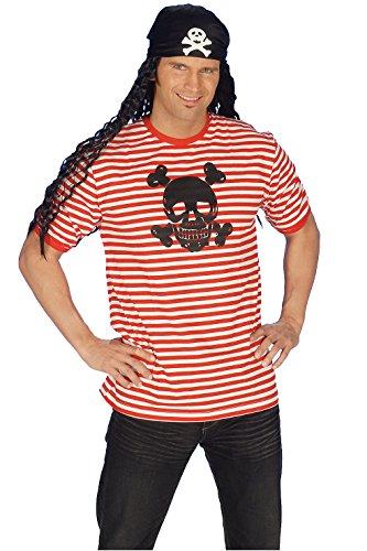 iß gestreift mit Totenkopfaufdruck (S) (Gestreiftes Piraten Shirt Kostüme)
