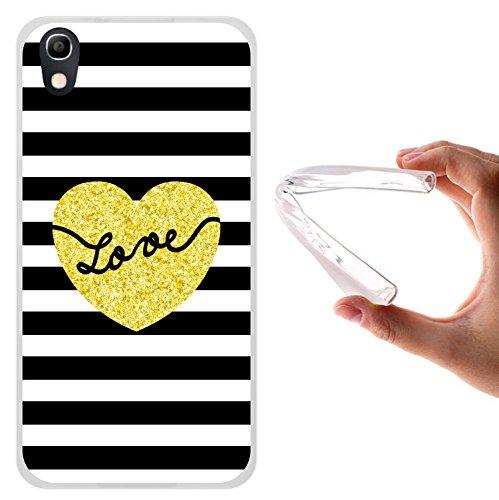 WoowCase Alcatel Idol 4 Hülle, Handyhülle Silikon für [ Alcatel Idol 4 ] Chic Stil Gestreiftes Herz Handytasche Handy Cover Case Schutzhülle Flexible TPU - Transparent