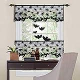 Cortinas cortas para ventanas 2 Pack cortinas con ojales Horror Gasa Draping Decoración 51x152cm, Negro