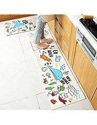 FairOnly Vida Conveniente Rect¨¢ngulo Impermeable Antideslizante Alfombra de Piso de PU para la Entrada de la casa Cocina Happy Doodle 45 * 75cm