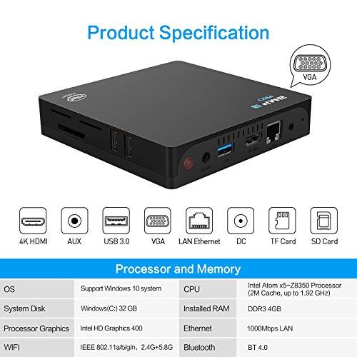 Windows 10 Linux Mini PC 4K Bqeel BMP3 PRO Mini Desktop-PC mit 4GB RAM,32GB ROM, Intel Atom x5-Z8350 Prozessor, Gigabit Ethernet, Dual-Band WiFi, Bluetooth 4.0 und HDMI & VGA-Videoausgang