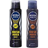 Nivea Fresh Power Boost Deodorant For Men, 150ml + Nivea Fresh Power Charge Deodorant, 150ml