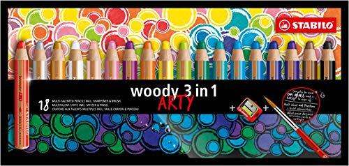 Matita colorata Multi-Funzione - STABILO woody 3 in 1 - ARTY - Astuccio da 18 - con Temperino e Pennello - Colori assortiti