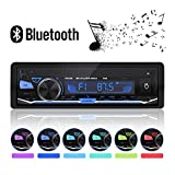 Autoradio Bluetooth, In-Dash Single Din Autoradio/Lettore MP3 / USB/TF/AUX/FM/Car Stereo Ricevitore Audio + Chiamata a Mani Libere con Telecomando Senza Fili 4 x 60W 12V