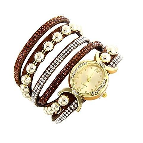 Minshao Mode Multi couches simili cuir Band Strass Perles Chaîne à quartz Bracelet montre-bracelet pour coffret cadeau pour femme café