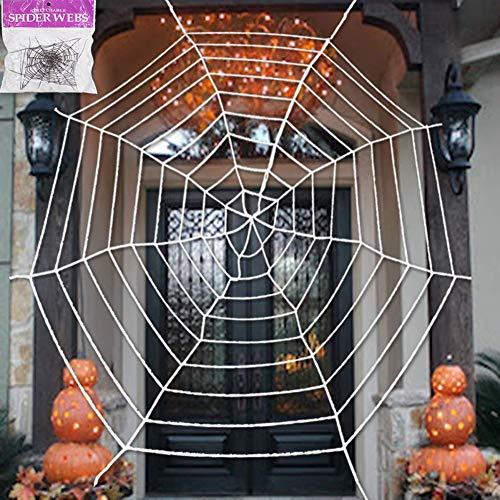Qianren Falsches Spinnen-Spinnennetz 1,5-3 Meter Schwarz-Weiß-Halloween-Dekorationen Gruseliger Hof Spukhaus-Themenparty-Dekor