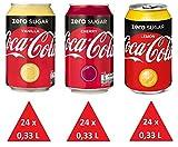 XXL Zuckerfrei Paket: 72 x Cola Zero (24 x Cherry, 24 x Lemon, 24 x Vanilla) Einweg-Dosen 0,33 L