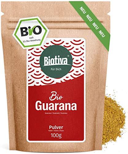 Guarana Bio Pulver - 100g reines Guaranapulver - Energizer - garantiert ohne Zusatzstoffe - hergestellt und kontrolliert in Deutschland (DE-ÖKO-005) - 100% Vegan