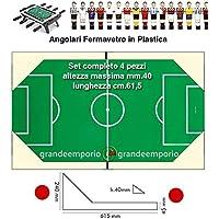 Calcio Balilla angolari fermavetro alti serie 4 pezzi, 2 sx. e 2 dx, altezza massima cm. 4, lunghezza cm.61,5, in plastica bianca.