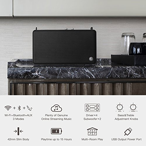 GGMM E5 Wireless Smart Speaker with Alexa Voice Service, Slim Body