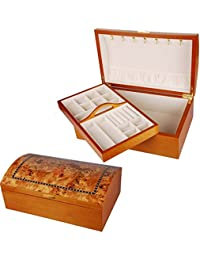 """""""Andra"""" Large Chest Style Wooden Jewellery Box with """"Oriental Rose"""" Design"""