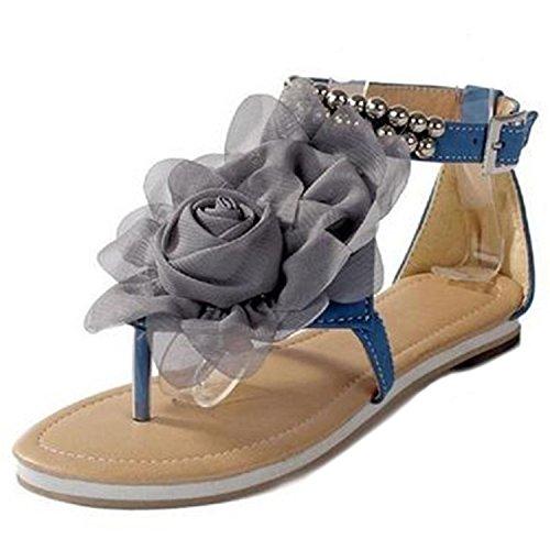 ZOEREA femmes dames fille Flattie avec une perceuse chaussures préférées été strass chaussures Tongs Romains Summer Girls flip plat Flops Sandales Bleu