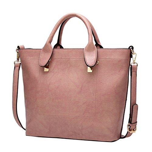 YiLianDa Damen Handtaschen Schultertaschen für Frauen PU Leder Top Griff Messager Handtasche Pink