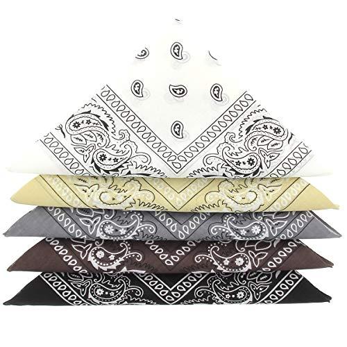 KARL LOVEN Bandanas 5er Pack 100% Baumwolle Paisley Halstuch Kopf Hals Schal (5er Pack, Weiß Schwarz Grau Beige Braun)