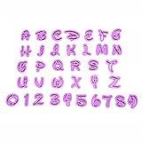 Ectxo Fondant Ausstecher Set Buchstaben und Zahlen Ausstechformen für Küche Torten Dekorieren (26 Buchstaben, 10 Zahlen)