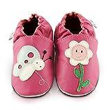 Scarpe per bimbo in pelle morbida - Fiore che ride - Suola in pelle antiscivolo | 6-12 mesi