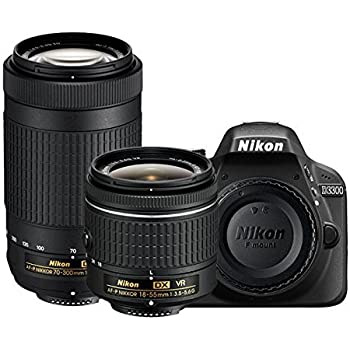 Nikon D3300 24.2MP Digital SLR (Black) with AF-P DX Nikkor 18-55mm and 70-300mm VR Lens, 16GB Memory Card and Camera Bag
