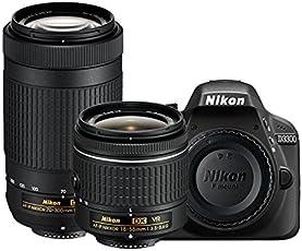 Nikon D3300 24.2MP Digital SLR (Black) with AF-P DX Nikkor 18-55mm and 70-300mm VR Lens, 16GB Memory Card and Camera Bag