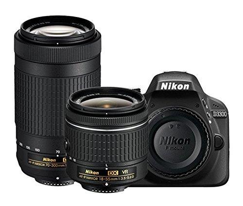 Nikon D3300 24.2MP Digital SLR (Black) + AF-P DX NIKKOR 18-55mm f/3.5-5.6G VR Lens + AF-P DX NIKKOR 70-300mm f/4.5-6.3G ED VR Lens + Memory Card + Camera Bag