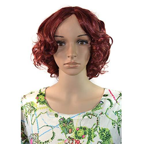 LYHD Perücken 11,8 Zoll Kurze Lockige Wellenförmige Perücken Kappe Haarteile Hitzebeständige Synthetische Perücken für Frauen Arbeitsplatz Kostüm Täglichen Gebrauch, Dunkelrot