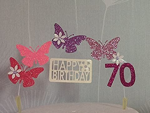 Pink Lilac mix Cake Decoration, Butterfly Arch, Silver, 18th, 21st, 30th, 40th, 50th, 60th, 70th, 80th, 90th