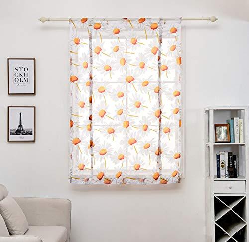 CCSUN Küche Kurz Schiere Vorhang, Sonnenblume Print Raffrollos Schiere Panel Tüll Fenster Behandlung Tür Vorhang Krawatte Sich Schier Kleines Fenster-weiß 120x120cm(47x47inch)