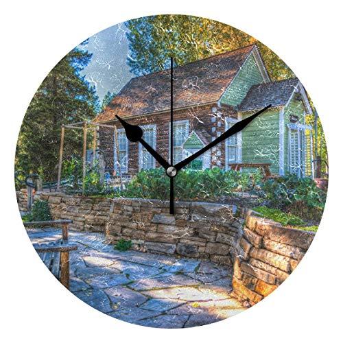 Dama Home Architektur-Herbst-runde Bank-Wanduhr-stille Nicht tickende dekorative Uhren für Küche, Wohnzimmer, Schlafzimmer, Badezimmer, Büro -