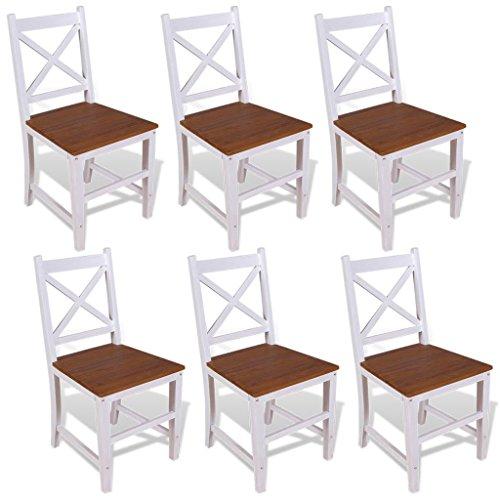 Lingjiushopping Chaises de salle à manger 6 pcs en teck massif en acajou Assise de composition : 100% en teck massif avec un cadre à huile et de finition rustique, jambe et dossier Composition : 100% bois d'acajou massif avec une finition peinture blanche