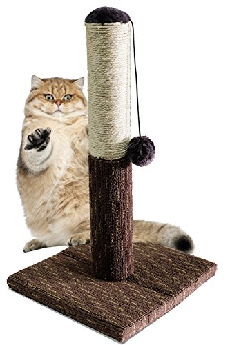 BPS® Rascador Gato Juguete para Gatos con Bola Materiales Rugoso Tamaño 30 * 30 * 54 cm BPS-3197 (Marrón Oscuro)