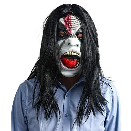 Langes Haar Grimassenmaske Halloween Horror Schwarz Gruselig Masking Requisiten Schwarze Augen Perücken Tanzparty Performance Latex (Color : Schwarz) (Versicherung Kostüm)