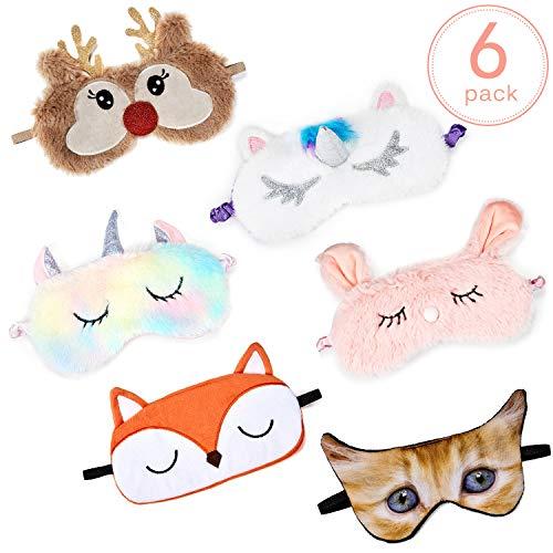 6 Stücke Tieraugenmaske Cartoon Plüsch Schlafmaske Weichem Plüsch Augenbinde für Erwachsene Kinder