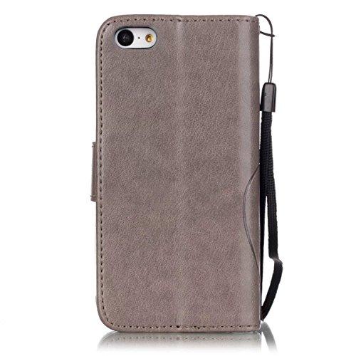 iPhone Case Cover Peint de couleur motif portefeuille style cas magnétique conception flip folio PU Housse en cuir couvercle standup cas pour iPhone 5C ( Color : Brown , Size : IPhone 5C ) Gray