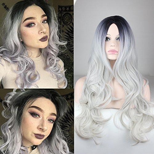 Fashion Silber Grau gewellt Synthetische Lace Front Perücke mit Pony klebefreien lang hitzebeständig Hair Natural Frauen Perücken (Ace Perücken)