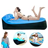 Nifogo Sofá Inflable Air Lounger Portátil con Almohada Integrada - Impermeable Plegable Sofá Cama para Descansar Camping de Verano Playa Pesca (Air Sofa-Blue)