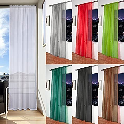 Mosul - Muslin / Linen Effect Slot Top Voile Curtain Panel (White, 56 x 90) by John Aird