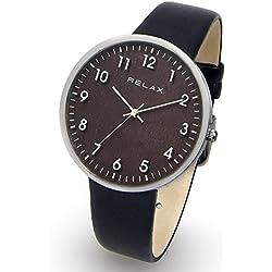 Relax Timber zeigt Damen-Quarz-Analog-Armband Leder Schwarz