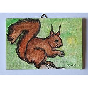 Das Eichhörnchen-Malerei auf Karton Leinwand handgefertigt, Acryltechnik und Größe cm 15x10x0,3 cm.Erstellt von Davide Pacini.