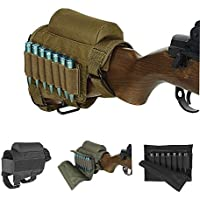 Rifle Buttstock, Hunting Shooting Tactical Cheek Rest Pad Ammo Pouch with 7 Shells Holder (Caqui)