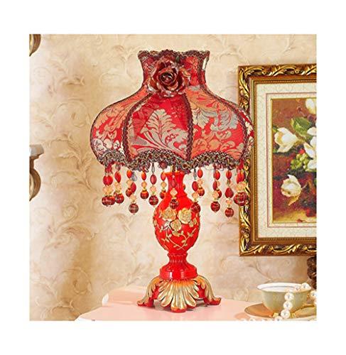 Pangu-zc lampada da tavolo rosso ciao regalo di nozze lampada da tavolo pizzo principessa lusso caldo lampada da lettura camera da letto camera da letto matrimoniale (colore : b, design : dimming)