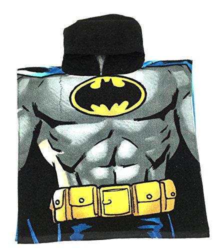 DC Comics Superheld Superman Batman Kapuzen Strandbad Badehandtuch Poncho - Jungen, Batman, One Size